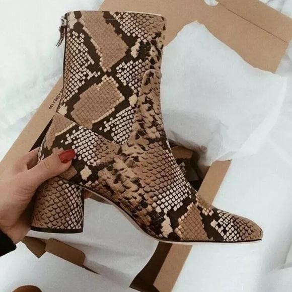 fa6deac9e1dece Zara Shoes | 100 Leather Animal Print Heeled Ankle Boots | Poshmark